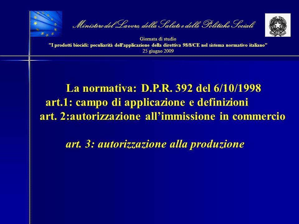 La normativa: D.P.R. 392 del 6/10/1998 art.1: campo di applicazione e definizioni art. 2:autorizzazione allimmissione in commercio art. 3: autorizzazi