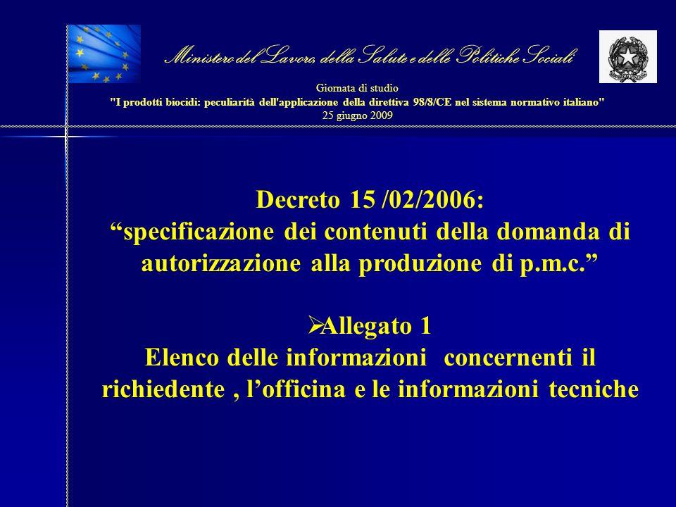 Decreto 15 /02/2006: specificazione dei contenuti della domanda di autorizzazione alla produzione di p.m.c. Allegato 1 Elenco delle informazioni conce