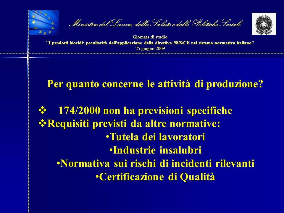Ministero del Lavoro, della Salute e delle Politiche Sociali Giornata di studio I prodotti biocidi: peculiarità dell applicazione della direttiva 98/8/CE nel sistema normativo italiano 25 giugno 2009 DPR 392/98 è da ritenersi applicabile.