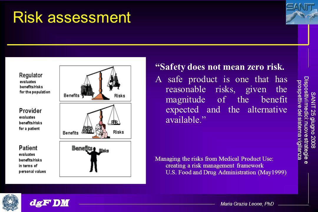 Maria Grazia Leone, PhD SANIT 25 giugno 2008 Dispositivi medici: nuove strategie e prospettive del sistema vigilanza Risk assessment Safety does not mean zero risk.