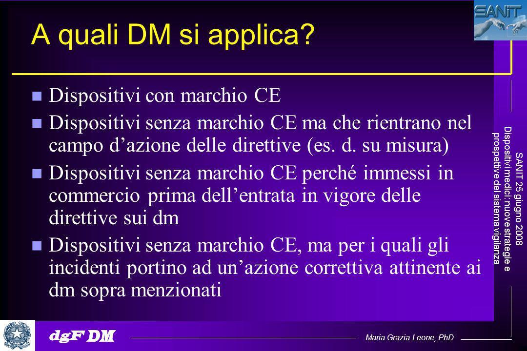 Maria Grazia Leone, PhD SANIT 25 giugno 2008 Dispositivi medici: nuove strategie e prospettive del sistema vigilanza A quali DM si applica.