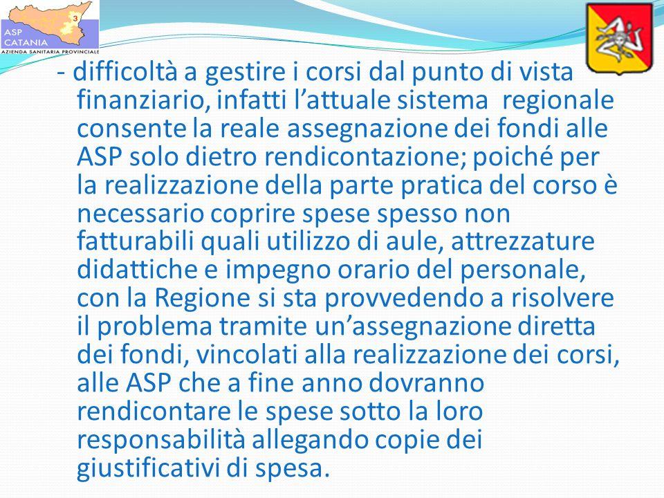 - difficoltà a gestire i corsi dal punto di vista finanziario, infatti lattuale sistema regionale consente la reale assegnazione dei fondi alle ASP so