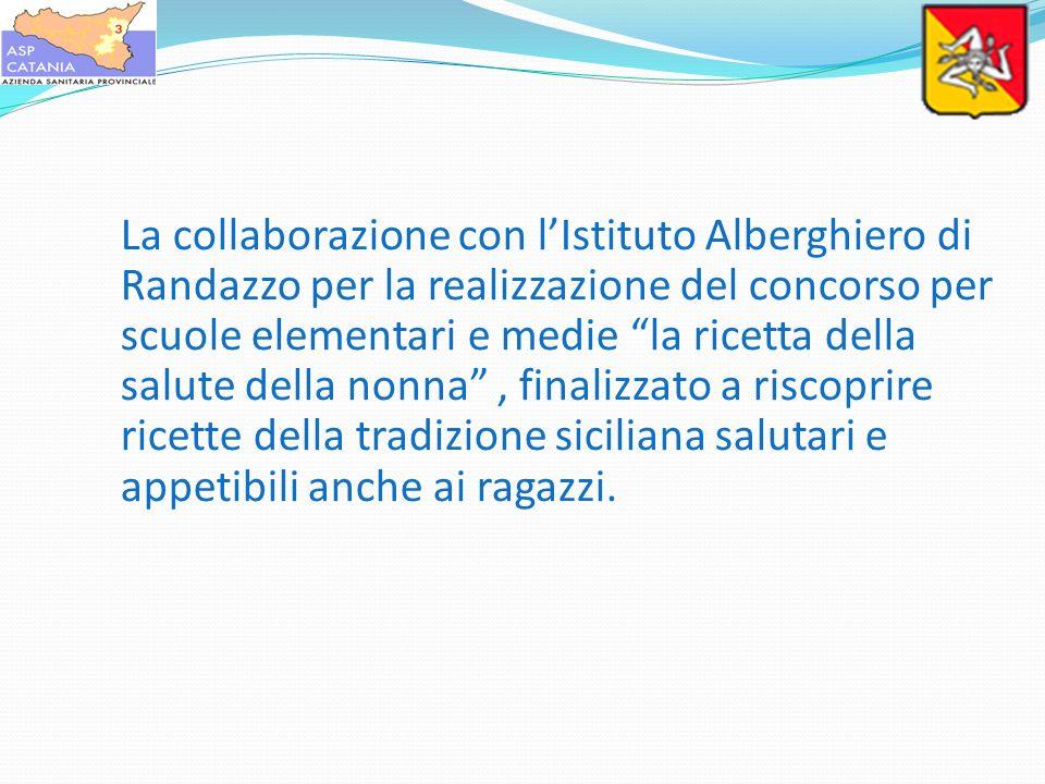 La collaborazione con lIstituto Alberghiero di Randazzo per la realizzazione del concorso per scuole elementari e medie la ricetta della salute della