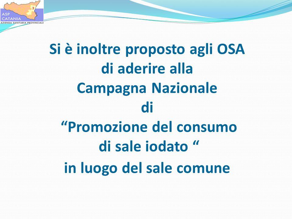 Si è inoltre proposto agli OSA di aderire alla Campagna Nazionale di Promozione del consumo di sale iodato in luogo del sale comune