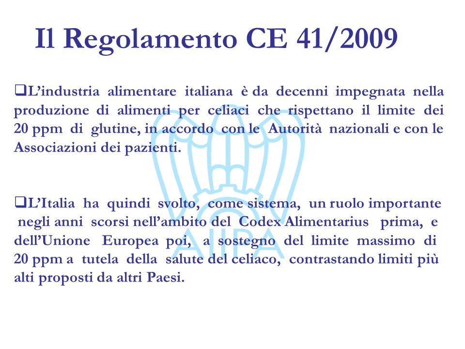 Il Regolamento CE 41/2009 A seguito delladozione del regolamento CE 41/2009 che introduce la categoria dei prodotti dietetici a contenuto molto basso di glutine (21-100 ppm), lindustria Italiana dei prodotti per celiaci sta continuando ad investire e a produrre rispettando il limite di 20 ppm, in accordo con i più recenti studi scientifici sulla tossicità delle tracce di glutine (Catassi) Riteniamo quindi che la rimborsabilità dei prodotti a carico del SSN vada mantenuta per i prodotti dietetici con tenore di glutine <20 ppm, come forma di maggiore garanzia e di riduzione del rischio per il celiaco
