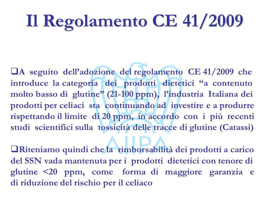 Il Regolamento CE 41/2009 A seguito delladozione del regolamento CE 41/2009 che introduce la categoria dei prodotti dietetici a contenuto molto basso