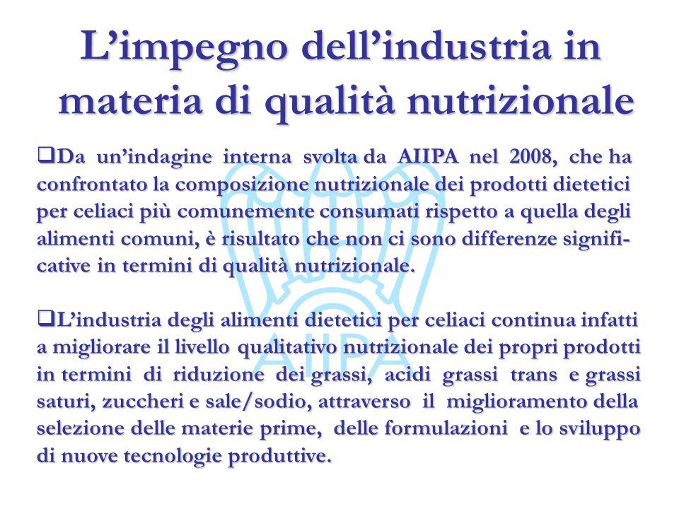 Limpegno dellindustria in materia di qualità nutrizionale materia di qualità nutrizionale Da unindagine interna svolta da AIIPA nel 2008, che ha confr
