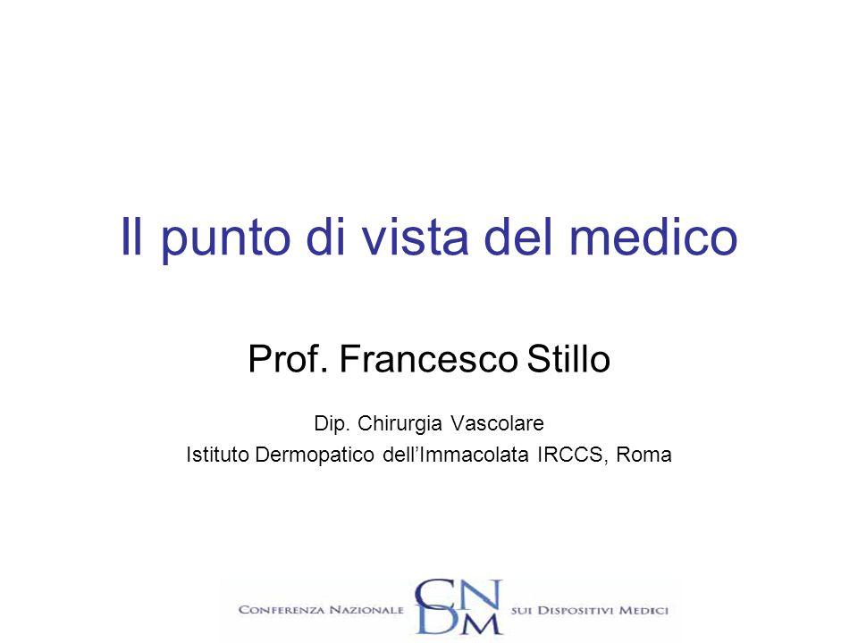 Il punto di vista del medico Prof. Francesco Stillo Dip. Chirurgia Vascolare Istituto Dermopatico dellImmacolata IRCCS, Roma