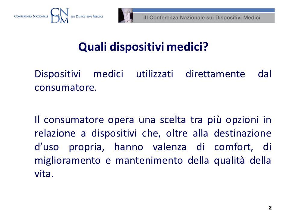 2 Quali dispositivi medici? Dispositivi medici utilizzati direttamente dal consumatore. Il consumatore opera una scelta tra più opzioni in relazione a