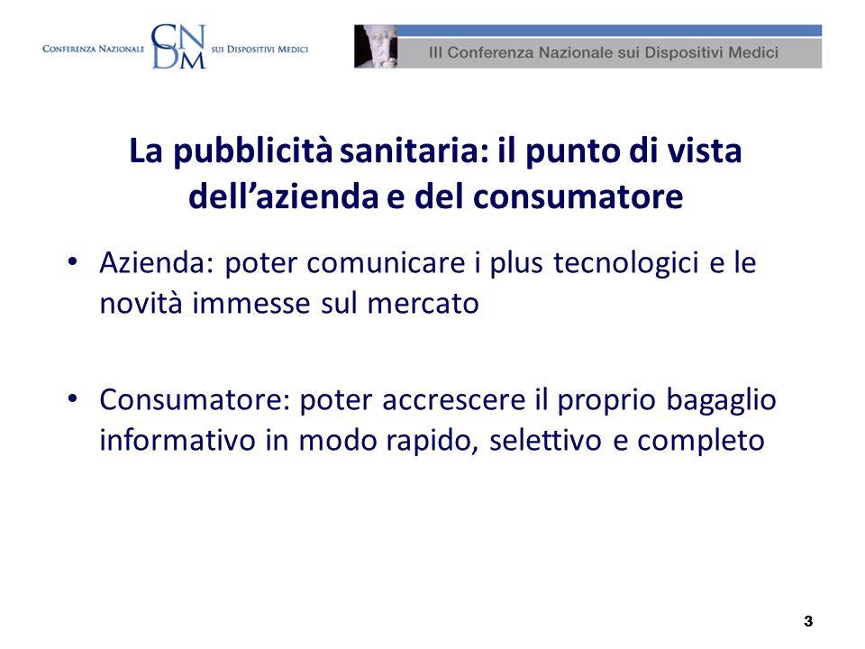 3 La pubblicità sanitaria: il punto di vista dellazienda e del consumatore Azienda: poter comunicare i plus tecnologici e le novità immesse sul mercat