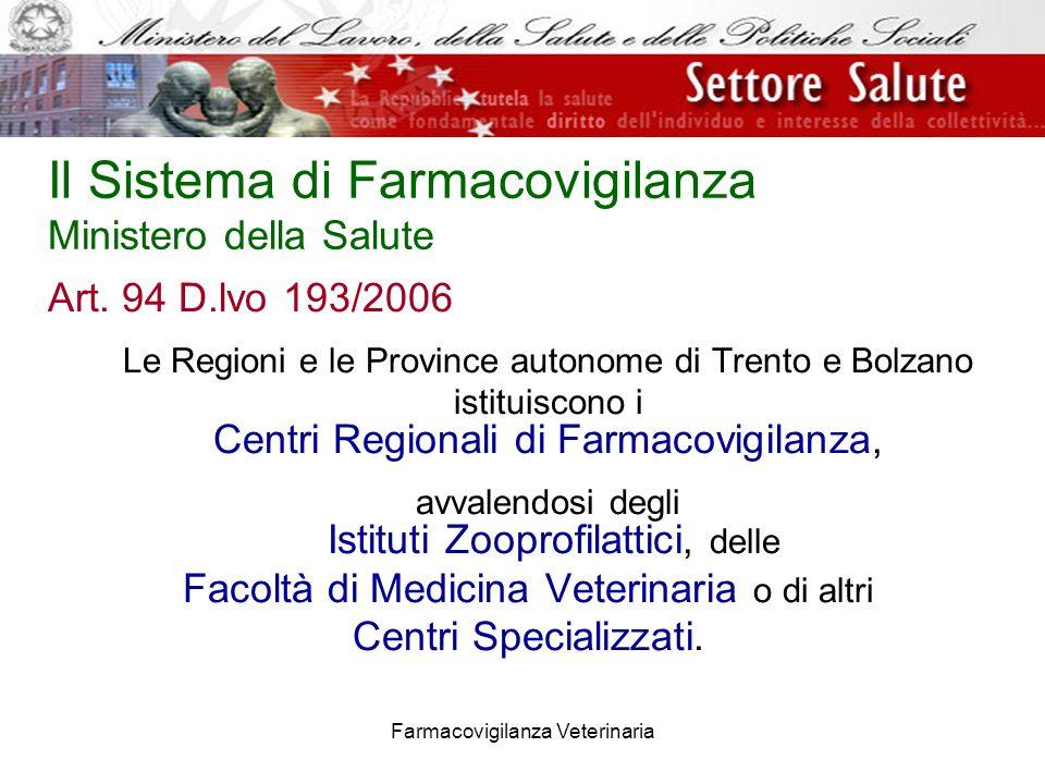 Farmacovigilanza Veterinaria Art. 94 D.lvo 193/2006 Le Regioni e le Province autonome di Trento e Bolzano istituiscono i Centri Regionali di Farmacovi