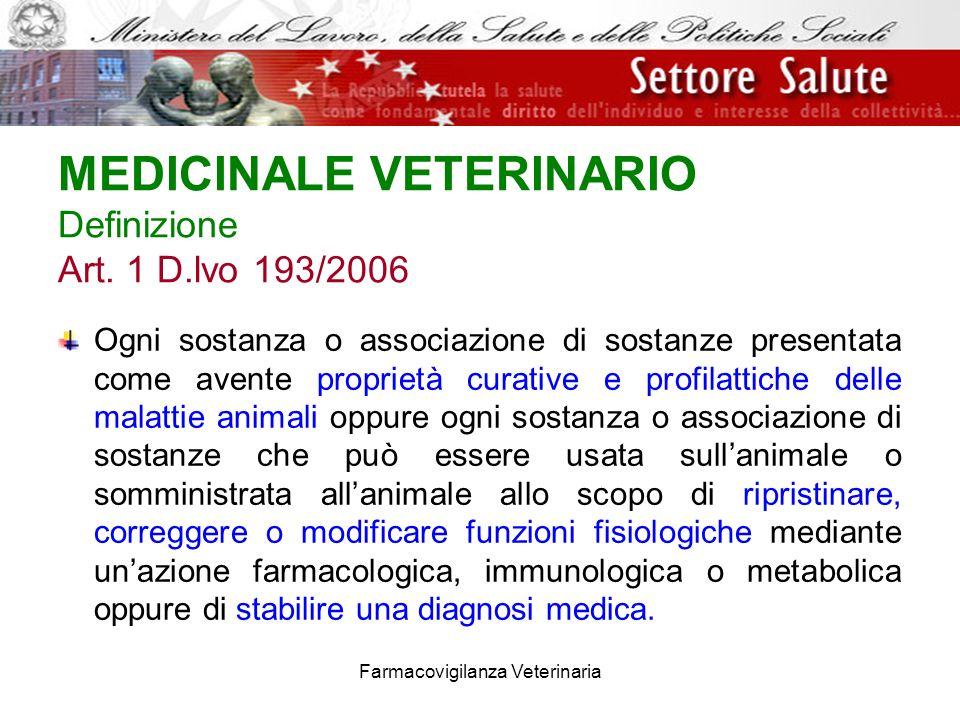 Farmacovigilanza Veterinaria MEDICINALE VETERINARIO Definizione Art. 1 D.lvo 193/2006 Ogni sostanza o associazione di sostanze presentata come avente