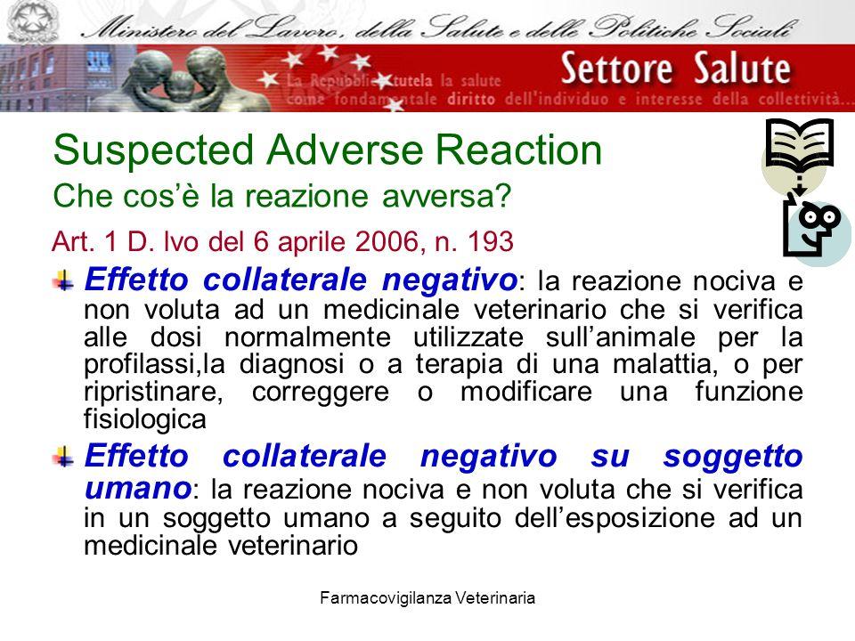 Farmacovigilanza Veterinaria Suspected Adverse Reaction Che cosè la reazione avversa? Art. 1 D. lvo del 6 aprile 2006, n. 193 Effetto collaterale nega
