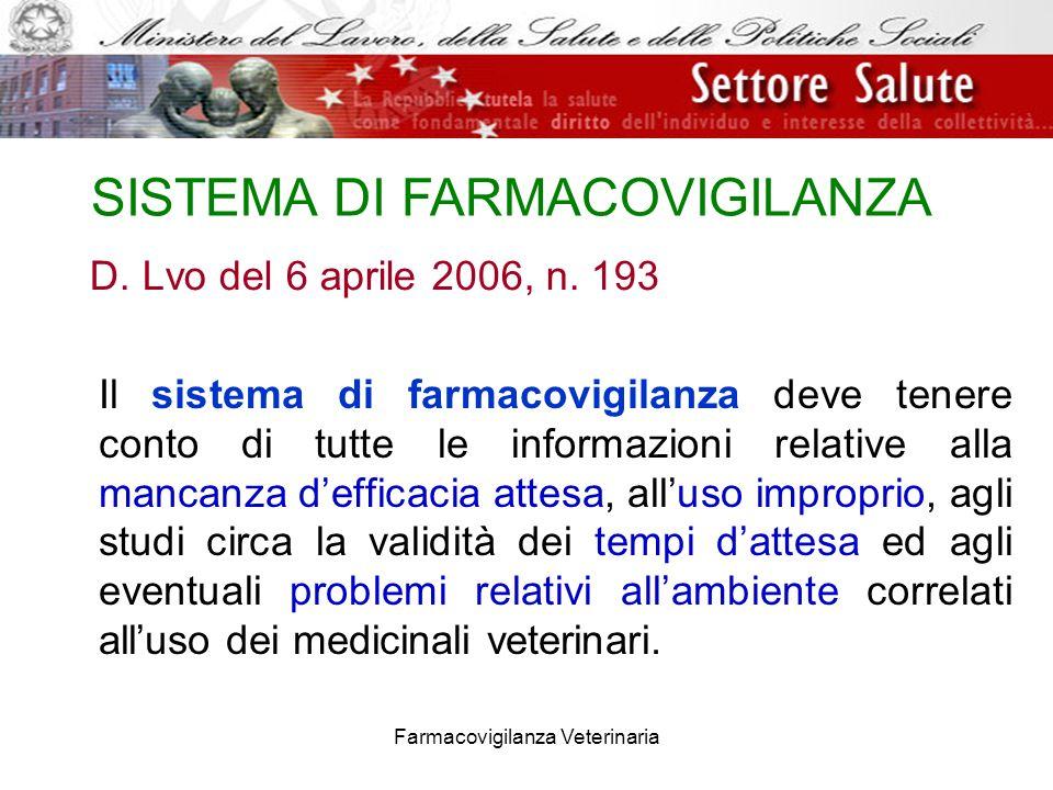 Farmacovigilanza Veterinaria D. Lvo del 6 aprile 2006, n. 193 Il sistema di farmacovigilanza deve tenere conto di tutte le informazioni relative alla