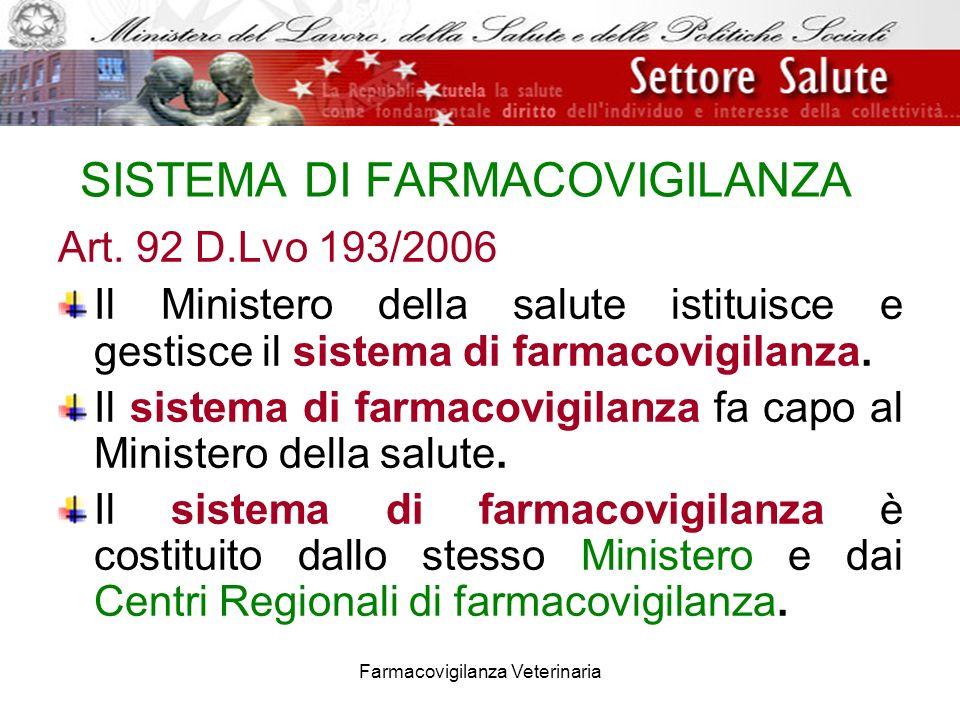 Farmacovigilanza Veterinaria SISTEMA DI FARMACOVIGILANZA Art. 92 D.Lvo 193/2006 Il Ministero della salute istituisce e gestisce il sistema di farmacov