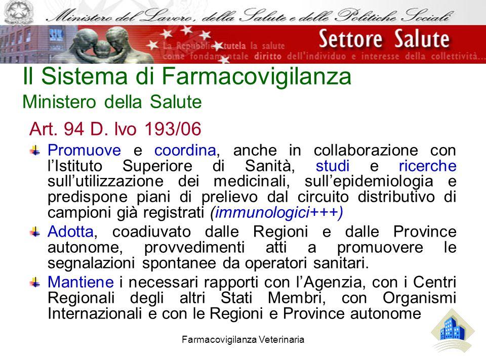 Farmacovigilanza Veterinaria Il Sistema di Farmacovigilanza Ministero della Salute Art. 94 D. lvo 193/06 Promuove e coordina, anche in collaborazione