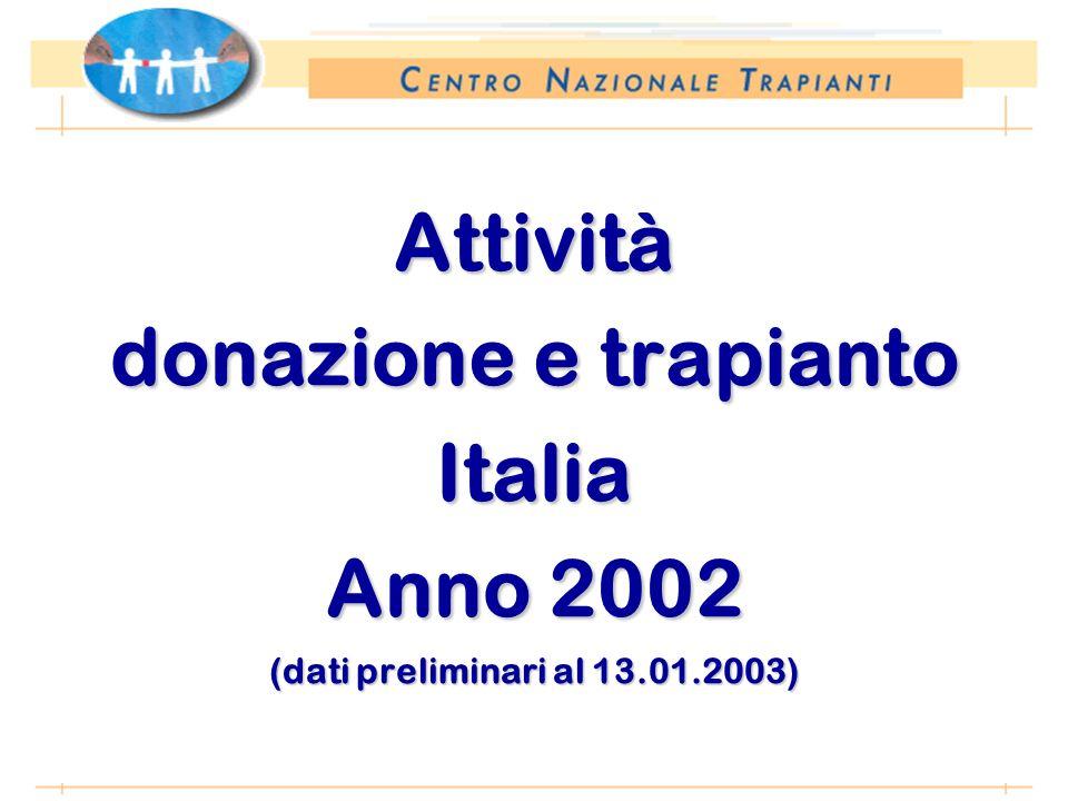 *Anno 2002: dati preliminari al 10.01.2003 Attività donazione e trapianto Italia Anno 2002 (dati preliminari al 13.01.2003)