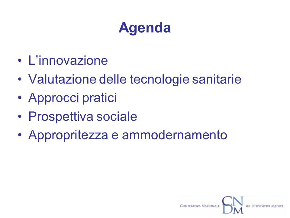Agenda Linnovazione Valutazione delle tecnologie sanitarie Approcci pratici Prospettiva sociale Appropritezza e ammodernamento