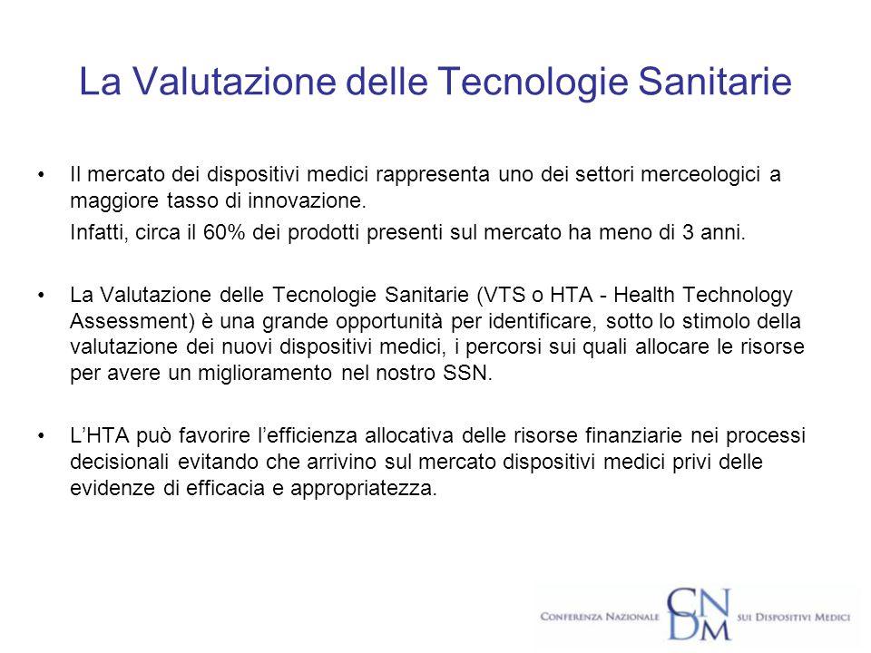 La Valutazione delle Tecnologie Sanitarie Il mercato dei dispositivi medici rappresenta uno dei settori merceologici a maggiore tasso di innovazione.