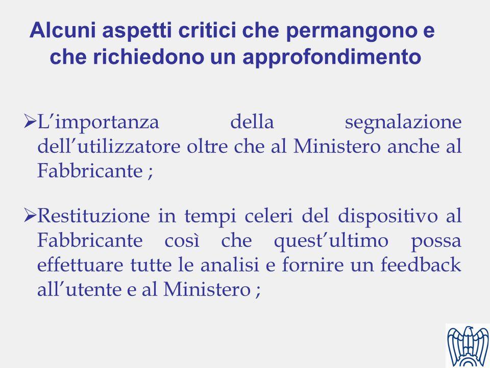 Limportanza della segnalazione dellutilizzatore oltre che al Ministero anche al Fabbricante ; Restituzione in tempi celeri del dispositivo al Fabbrica