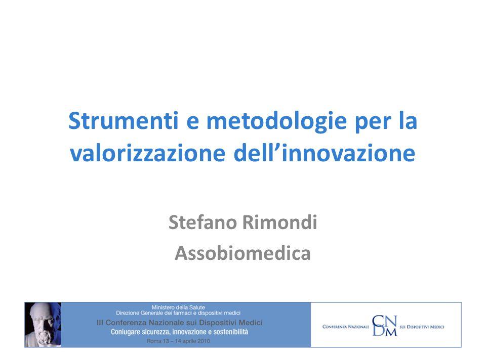 Strumenti e metodologie per la valorizzazione dellinnovazione Stefano Rimondi Assobiomedica