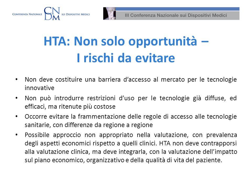 HTA: Non solo opportunità – I rischi da evitare Non deve costituire una barriera daccesso al mercato per le tecnologie innovative Non può introdurre r