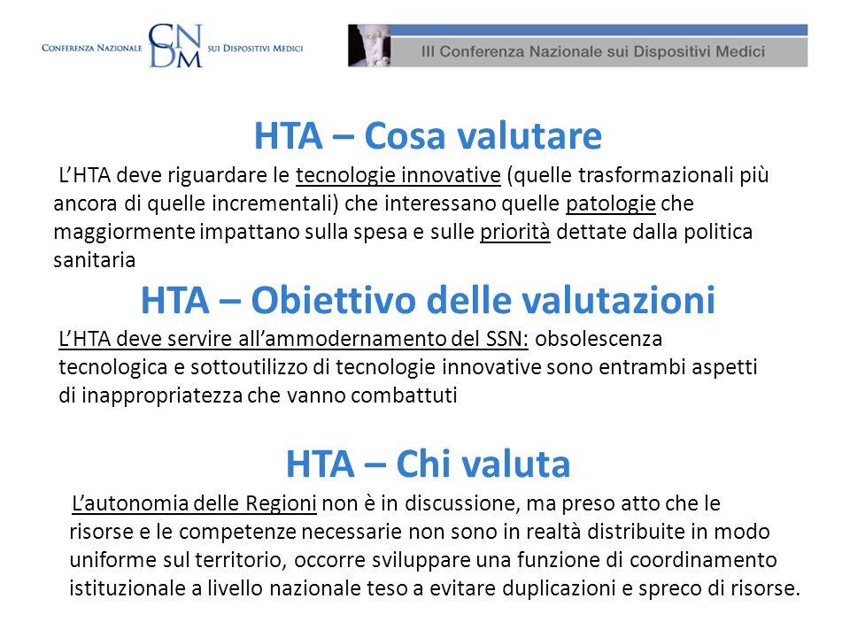 HTA – Cosa valutare LHTA deve riguardare le tecnologie innovative (quelle trasformazionali più ancora di quelle incrementali) che interessano quelle p