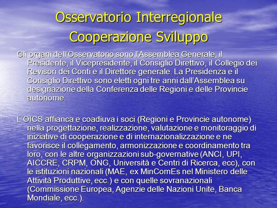 Osservatorio Interregionale Cooperazione Sviluppo Osservatorio Interregionale Cooperazione Sviluppo Gli organi dellOsservatorio sono lAssemblea Genera