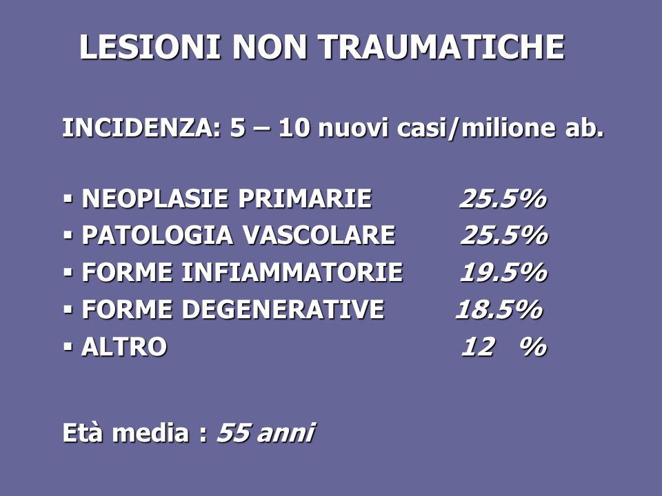 LESIONI NON TRAUMATICHE INCIDENZA: 5 – 10 nuovi casi/milione ab. NEOPLASIE PRIMARIE 25.5% NEOPLASIE PRIMARIE 25.5% PATOLOGIA VASCOLARE 25.5% PATOLOGIA