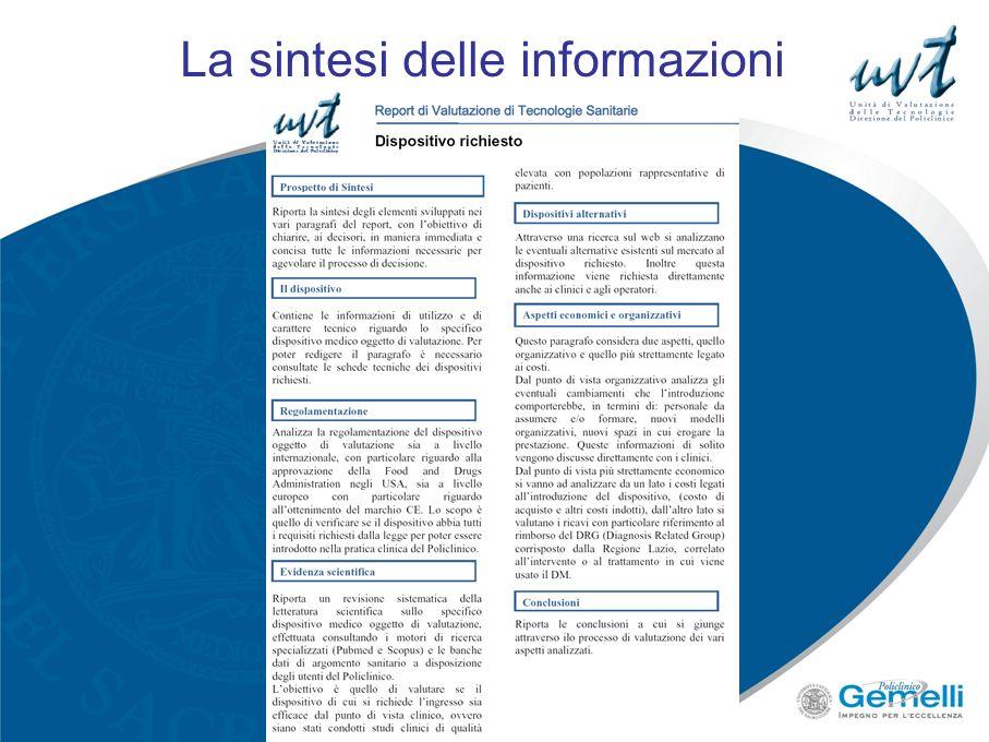 La sintesi delle informazioni