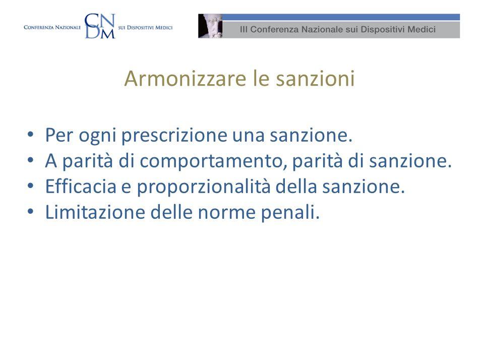 Armonizzare le sanzioni Per ogni prescrizione una sanzione. A parità di comportamento, parità di sanzione. Efficacia e proporzionalità della sanzione.