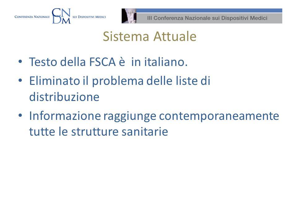 Sistema Attuale Testo della FSCA è in italiano. Eliminato il problema delle liste di distribuzione Informazione raggiunge contemporaneamente tutte le