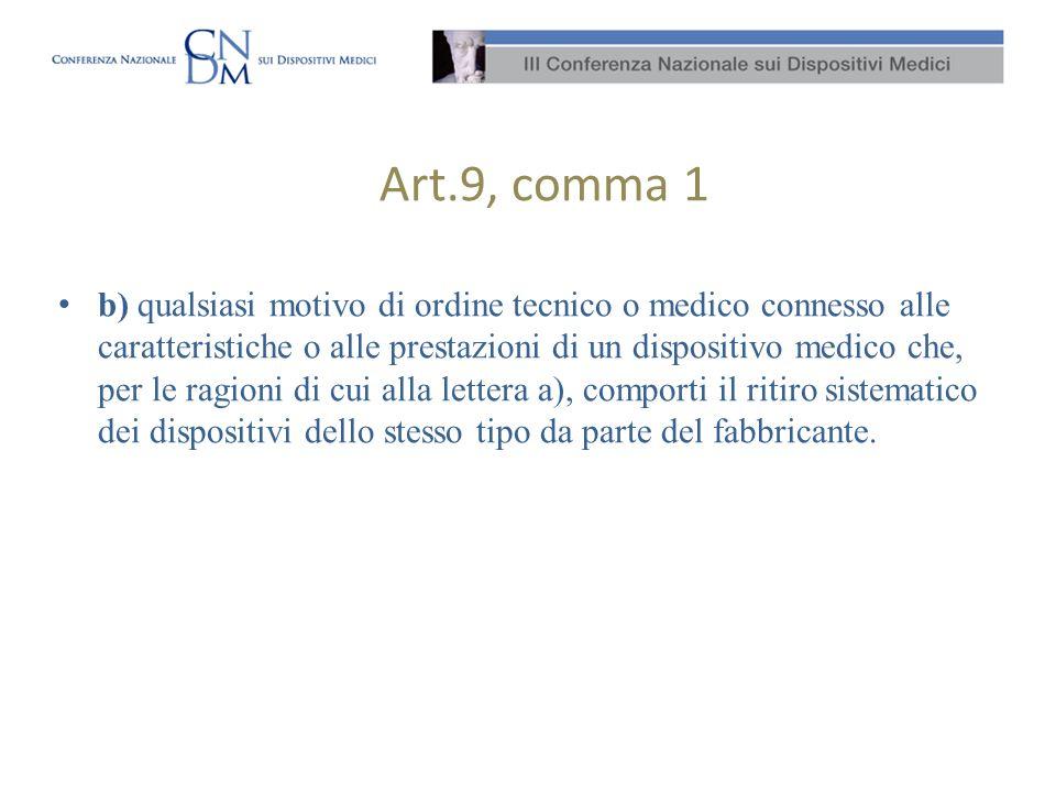 Art.9, comma 1 b) qualsiasi motivo di ordine tecnico o medico connesso alle caratteristiche o alle prestazioni di un dispositivo medico che, per le ra