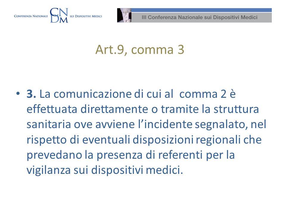 Art.9, comma 3 3. La comunicazione di cui al comma 2 è effettuata direttamente o tramite la struttura sanitaria ove avviene lincidente segnalato, nel