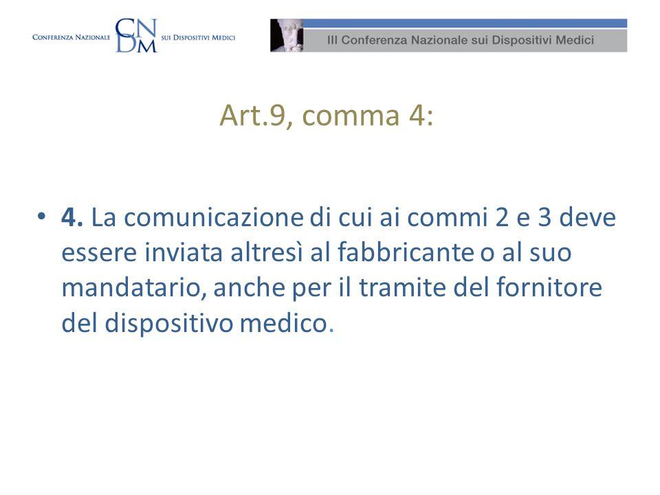 Art.9, comma 4: 4. La comunicazione di cui ai commi 2 e 3 deve essere inviata altresì al fabbricante o al suo mandatario, anche per il tramite del for