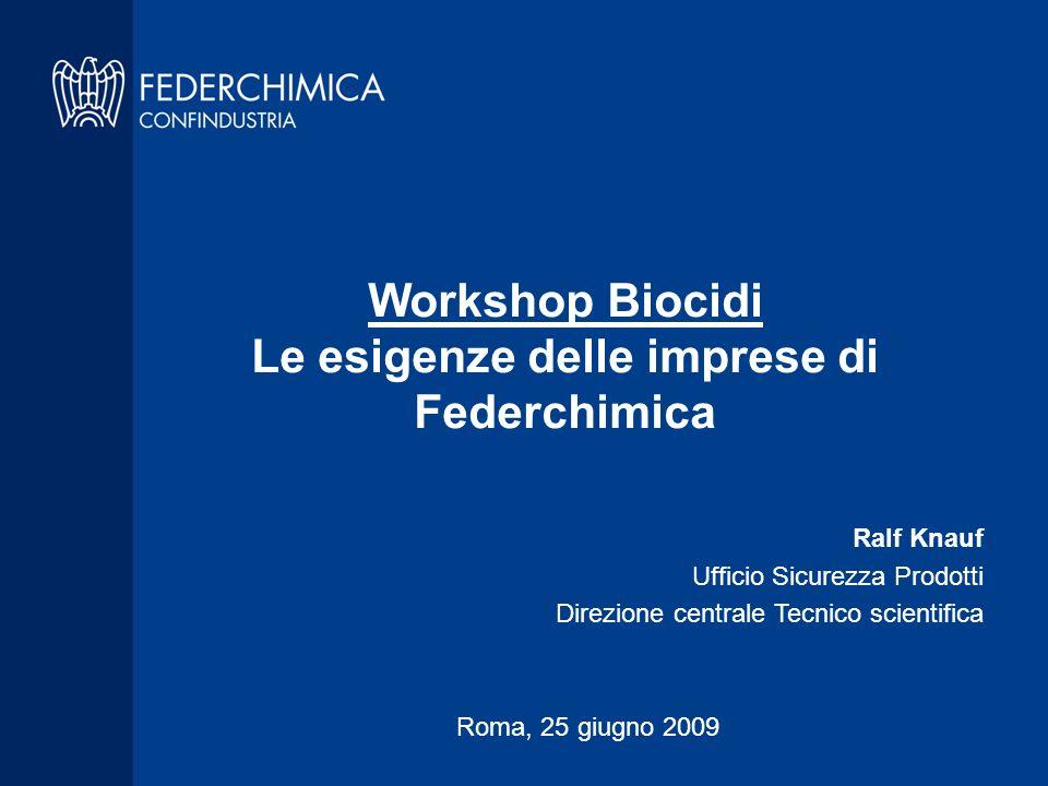 Sommario 1.Presentazione di Federchimica 2.Problemi e possibili soluzioni per i PMC 3.Incertezze nel periodo di transizione 4.Problemi specifici della Direttiva biocidi 5.Conclusioni