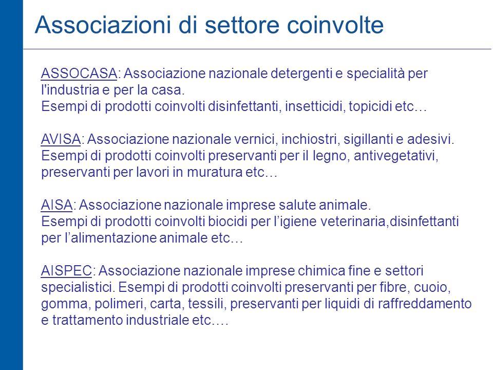 Associazioni di settore coinvolte ASSOCASA: Associazione nazionale detergenti e specialità per l industria e per la casa.