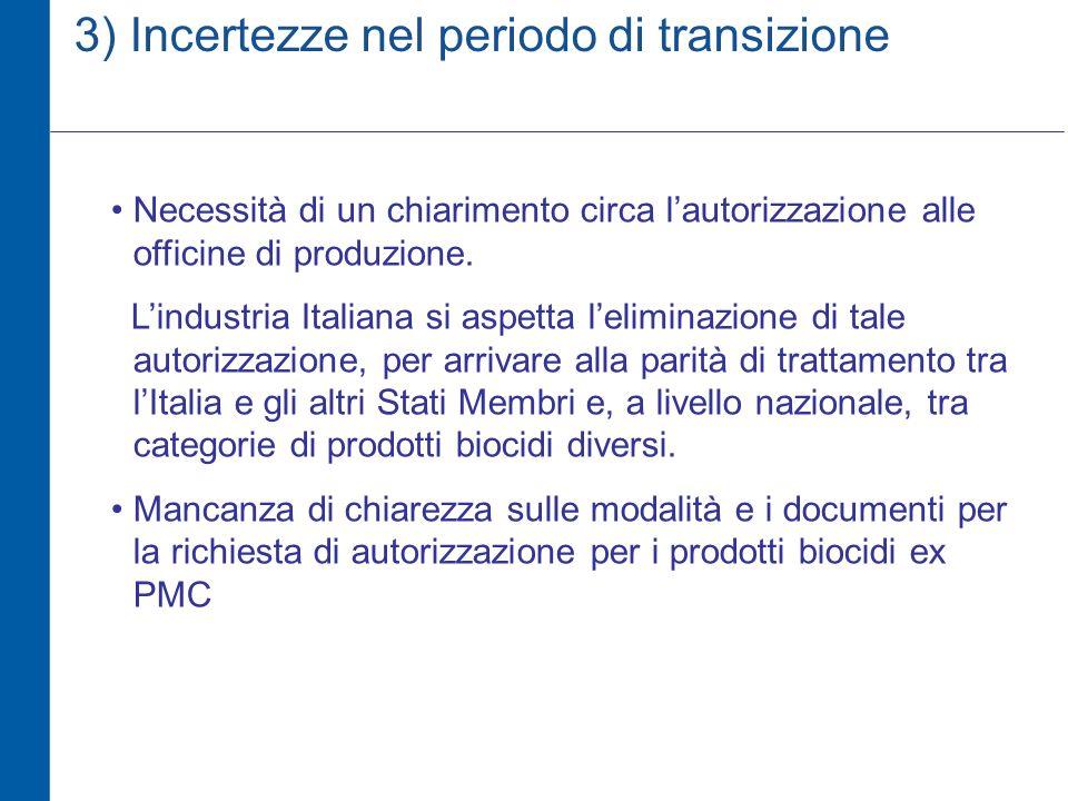 3) Incertezze nel periodo di transizione Necessità di un chiarimento circa lautorizzazione alle officine di produzione.