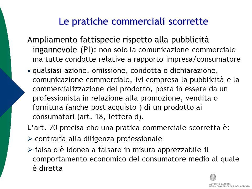Le pratiche commerciali scorrette Ampliamento fattispecie rispetto alla pubblicità ingannevole (PI): non solo la comunicazione commerciale ma tutte co