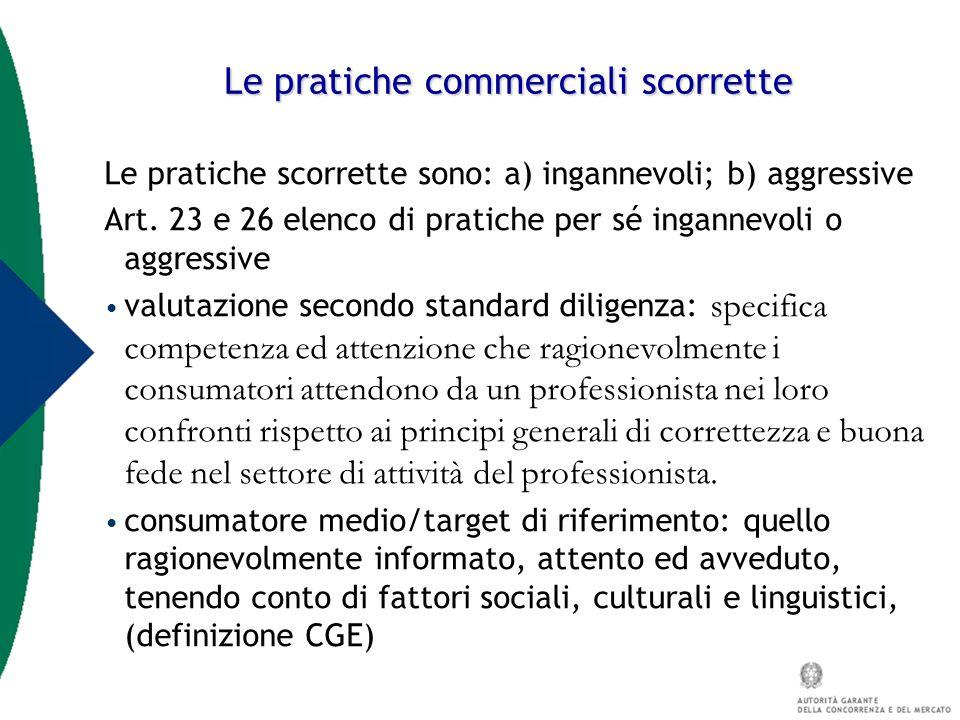 Le pratiche commerciali scorrette Le pratiche scorrette sono: a) ingannevoli; b) aggressive Art. 23 e 26 elenco di pratiche per sé ingannevoli o aggre