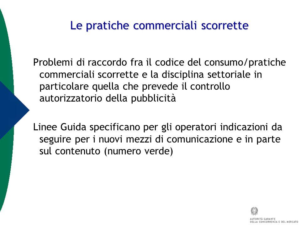 Le pratiche commerciali scorrette Problemi di raccordo fra il codice del consumo/pratiche commerciali scorrette e la disciplina settoriale in particol
