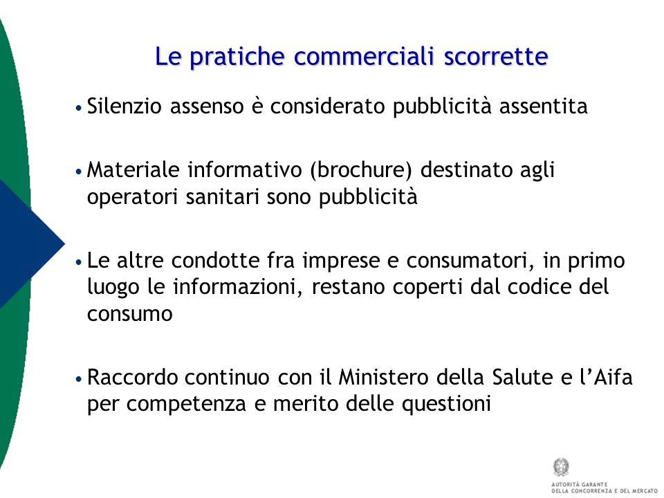 Le pratiche commerciali scorrette Silenzio assenso è considerato pubblicità assentita Materiale informativo (brochure) destinato agli operatori sanita