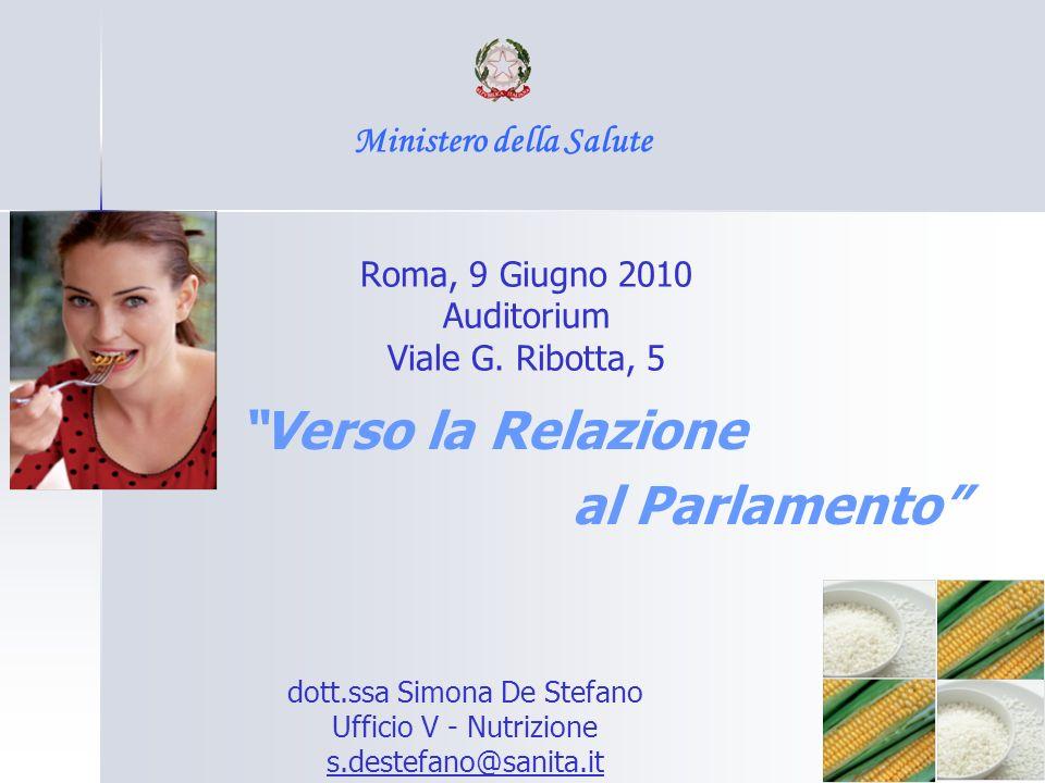 Verso la Relazione al Parlamento Ministero della Salute Roma, 9 Giugno 2010 Auditorium Viale G. Ribotta, 5 dott.ssa Simona De Stefano Ufficio V - Nutr