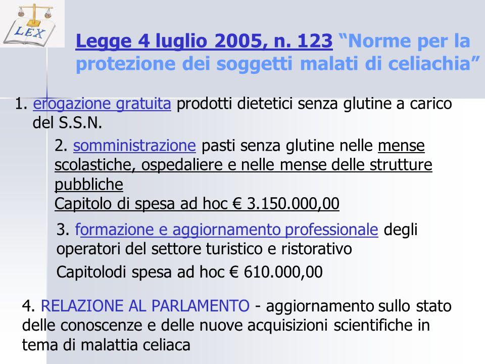1. erogazione gratuita prodotti dietetici senza glutine a carico del S.S.N. Legge 4 luglio 2005, n. 123Legge 4 luglio 2005, n. 123 Norme per la protez