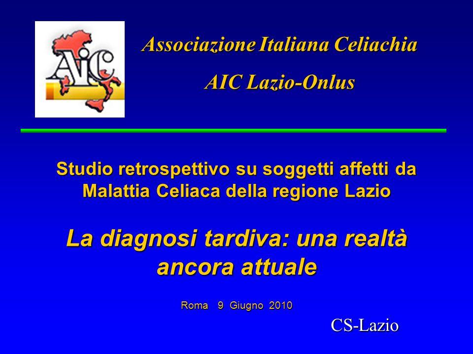 Associazione Italiana Celiachia AIC Lazio-Onlus Studio retrospettivo su soggetti affetti da Malattia Celiaca della regione Lazio La diagnosi tardiva: