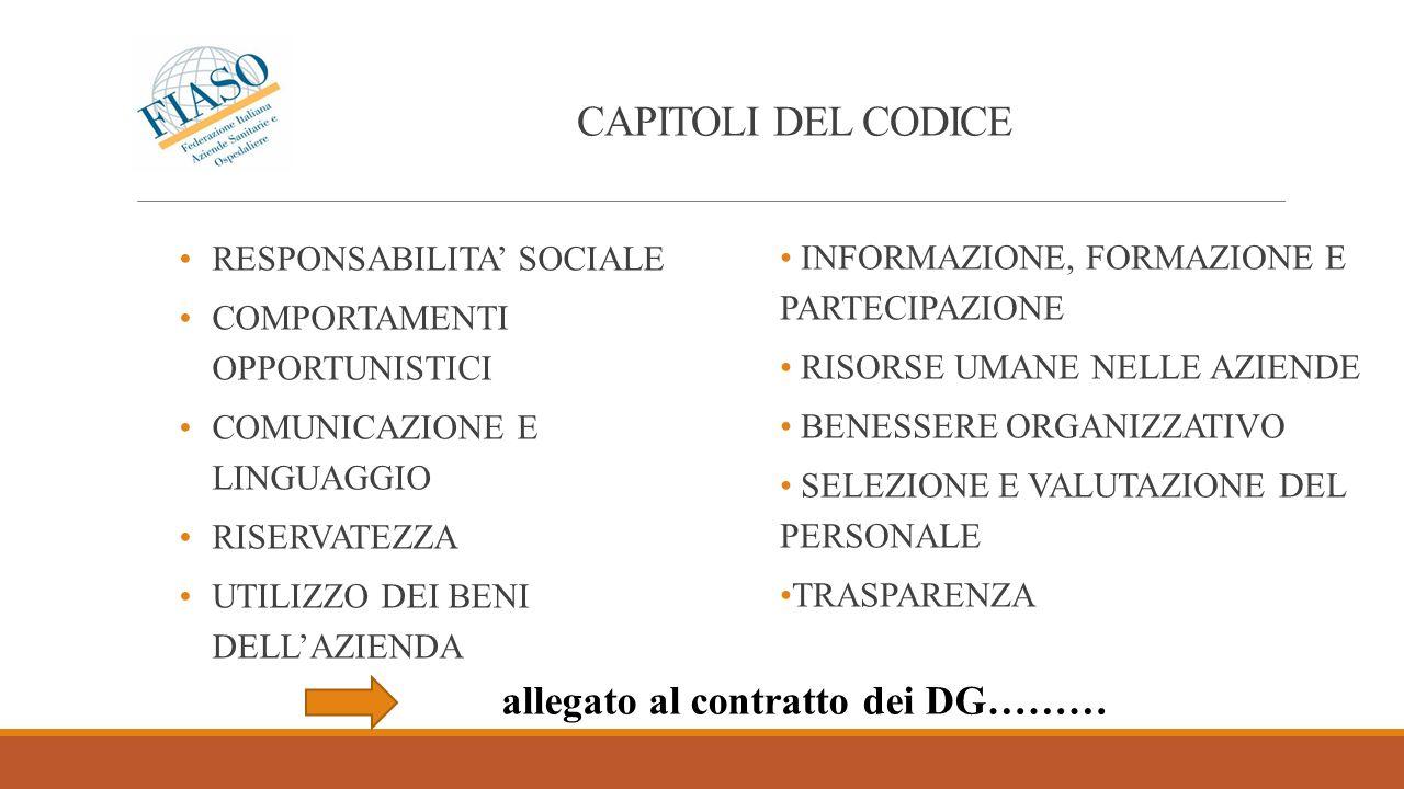 CAPITOLI DEL CODICE RESPONSABILITA SOCIALE COMPORTAMENTI OPPORTUNISTICI COMUNICAZIONE E LINGUAGGIO RISERVATEZZA UTILIZZO DEI BENI DELLAZIENDA INFORMAZ
