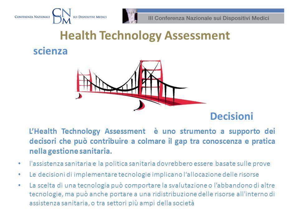 Health Technology Assessment l'assistenza sanitaria e la politica sanitaria dovrebbero essere basate sulle prove Le decisioni di implementare tecnolog