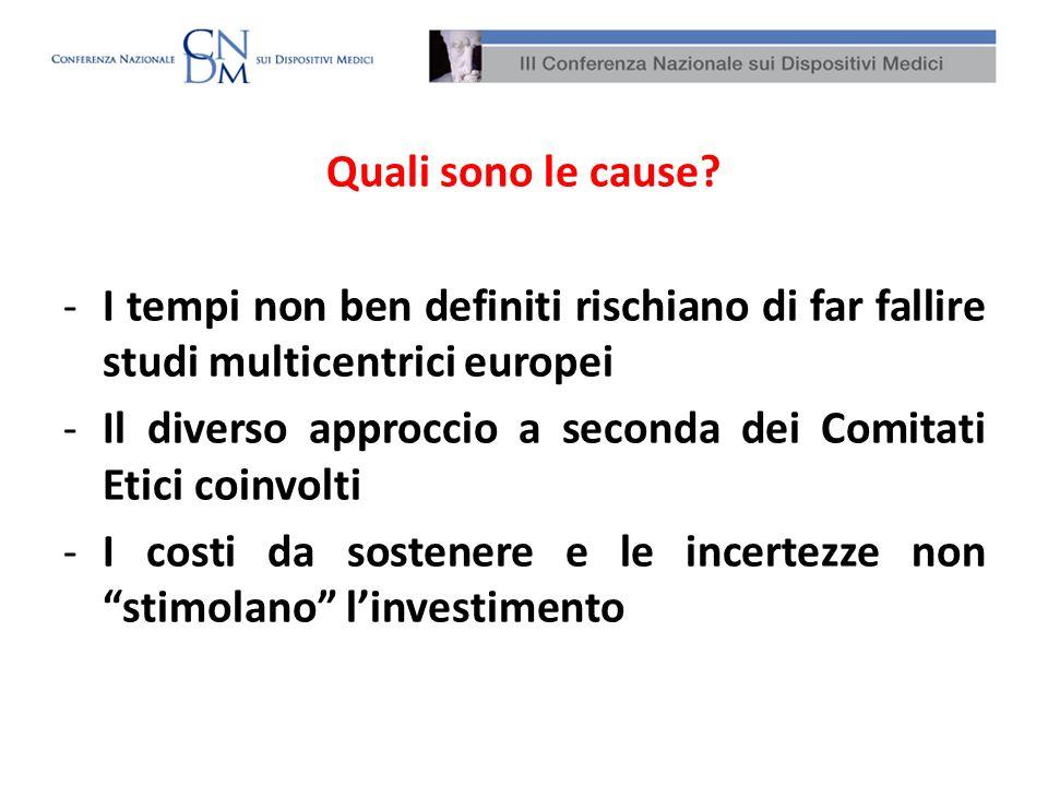 Quali sono le cause? -I tempi non ben definiti rischiano di far fallire studi multicentrici europei -Il diverso approccio a seconda dei Comitati Etici