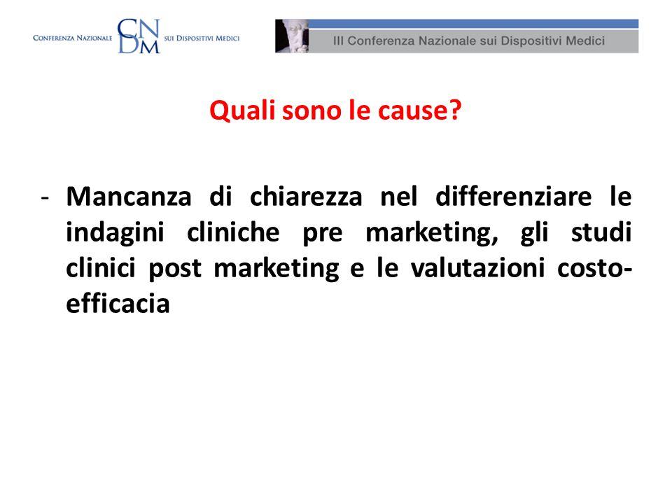 Quali sono le cause? -Mancanza di chiarezza nel differenziare le indagini cliniche pre marketing, gli studi clinici post marketing e le valutazioni co