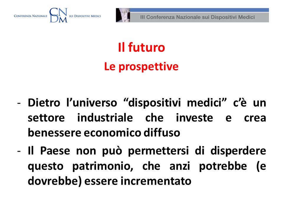 Il futuro Le prospettive -Dietro luniverso dispositivi medici cè un settore industriale che investe e crea benessere economico diffuso -Il Paese non p
